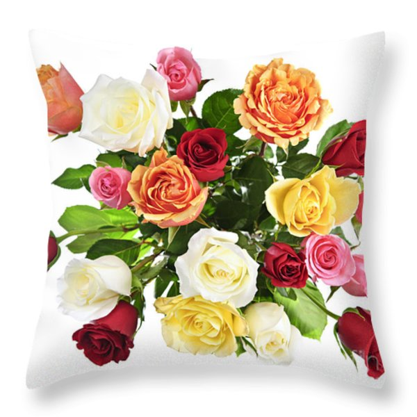 Bouquet Of Roses From Above Throw Pillow by Elena Elisseeva