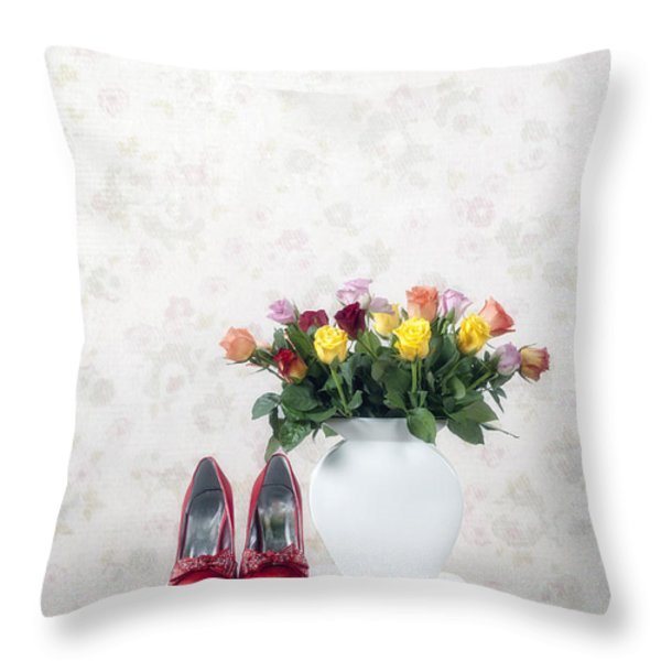 Bouquet Of Roses Throw Pillow by Joana Kruse