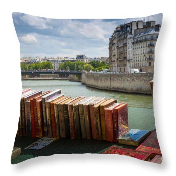 Bouquinistes Le Long De La Seine Throw Pillow by Inge Johnsson