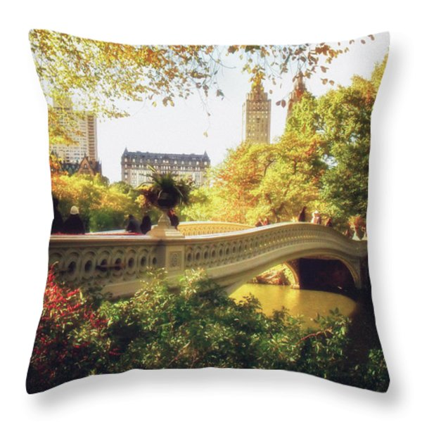 Bow Bridge - Autumn - Central Park Throw Pillow by Vivienne Gucwa