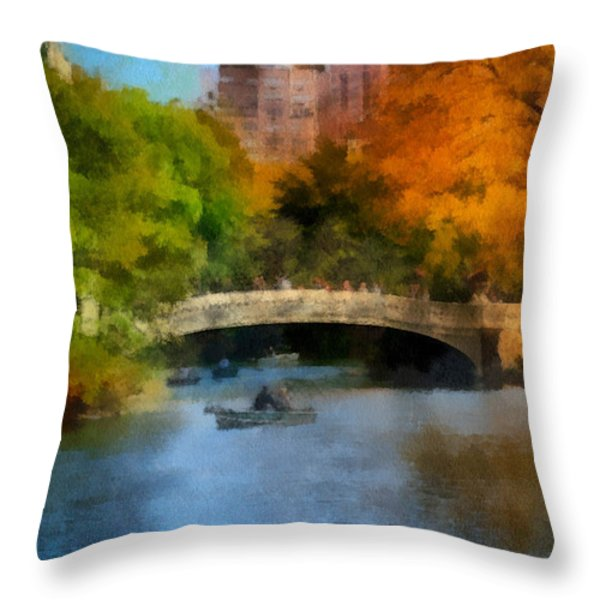 Bow Bridge Central Park Throw Pillow by Amy Cicconi