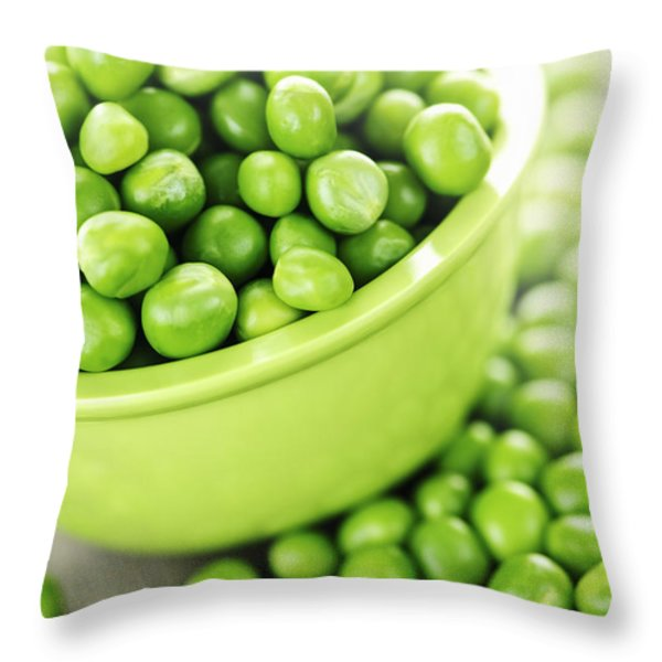 Bowl of green peas Throw Pillow by Elena Elisseeva
