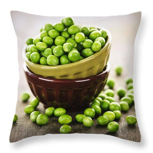 Bowl of peas Throw Pillow by Elena Elisseeva