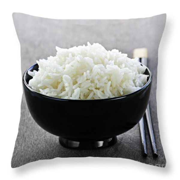 Bowl of rice with chopsticks Throw Pillow by Elena Elisseeva