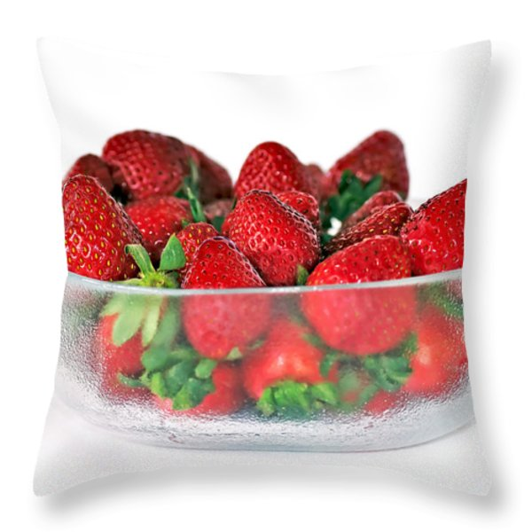 Bowl Of Strawberries Throw Pillow by Kaye Menner