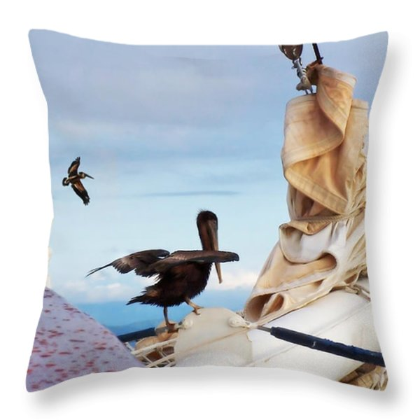 Bowsprit Pelicans Throw Pillow by Deborah Smith