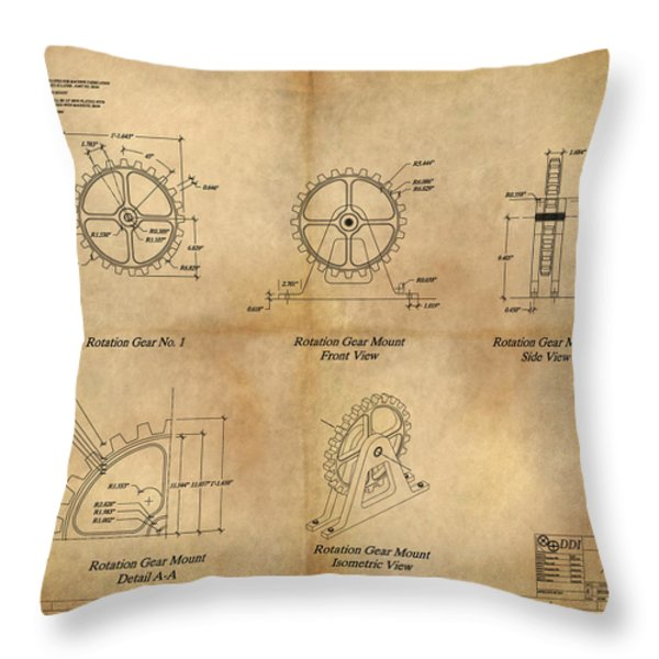 Box Gear And Housing Throw Pillow by James Christopher Hill