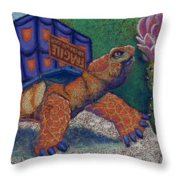 Box Turtle Throw Pillow by Tracy L Teeter