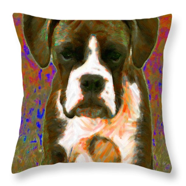 Boxer 20130126v1 Throw Pillow by Wingsdomain Art and Photography