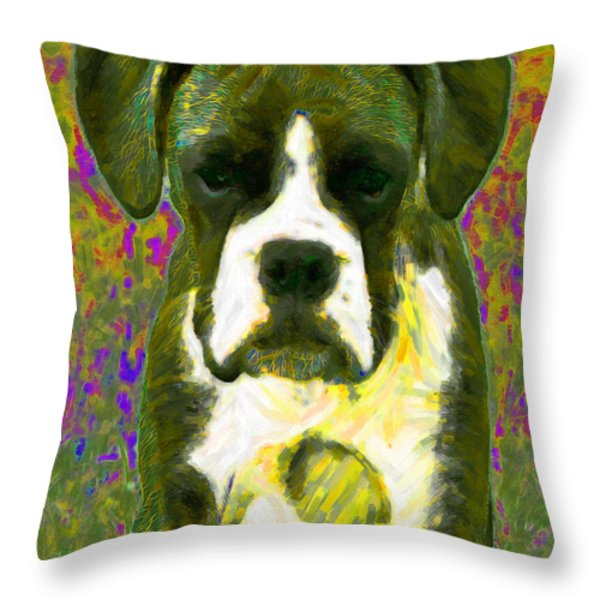 Boxer 20130126v2 Throw Pillow by Wingsdomain Art and Photography
