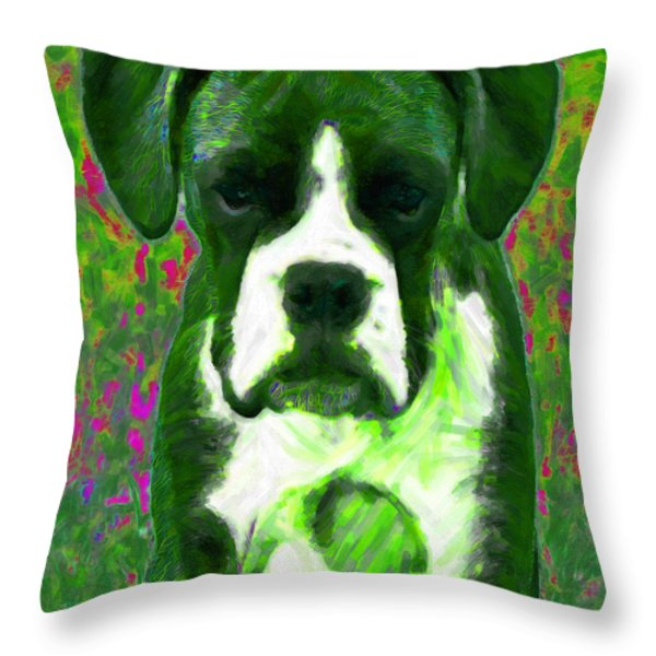 Boxer 20130126v3 Throw Pillow by Wingsdomain Art and Photography