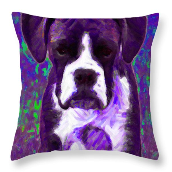 Boxer 20130126v6 Throw Pillow by Wingsdomain Art and Photography