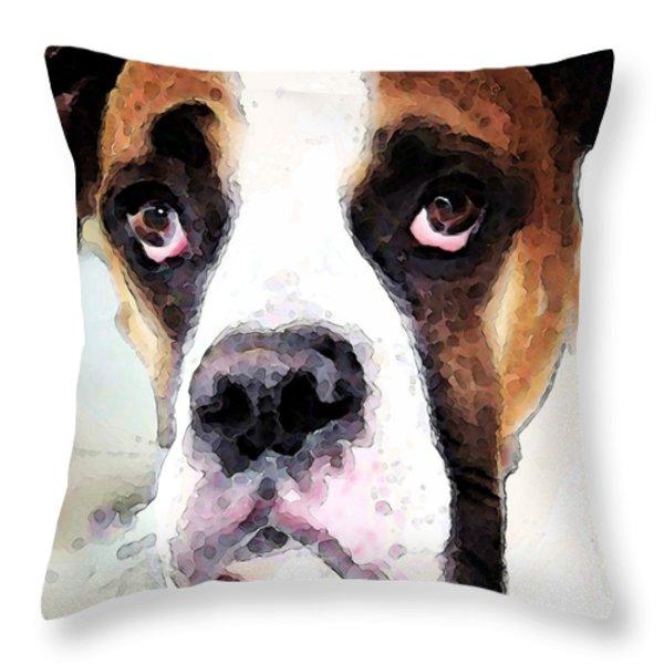 Boxer Art - Sad Eyes Throw Pillow by Sharon Cummings