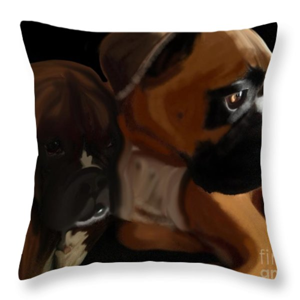 Boxer Brothers Throw Pillow by Christina Kulzer