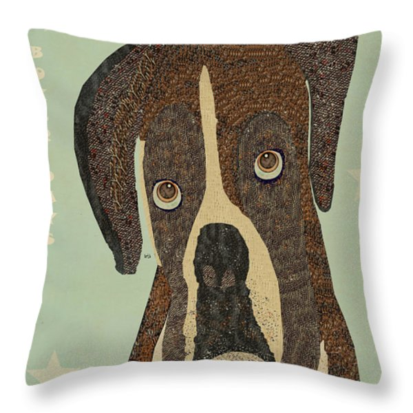 boxer days Throw Pillow by Bri Buckley