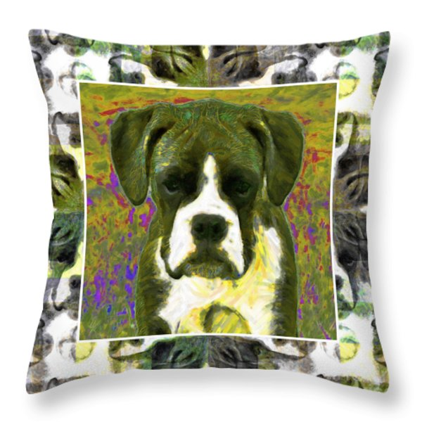 Boxer Dog 20130126 Throw Pillow by Wingsdomain Art and Photography
