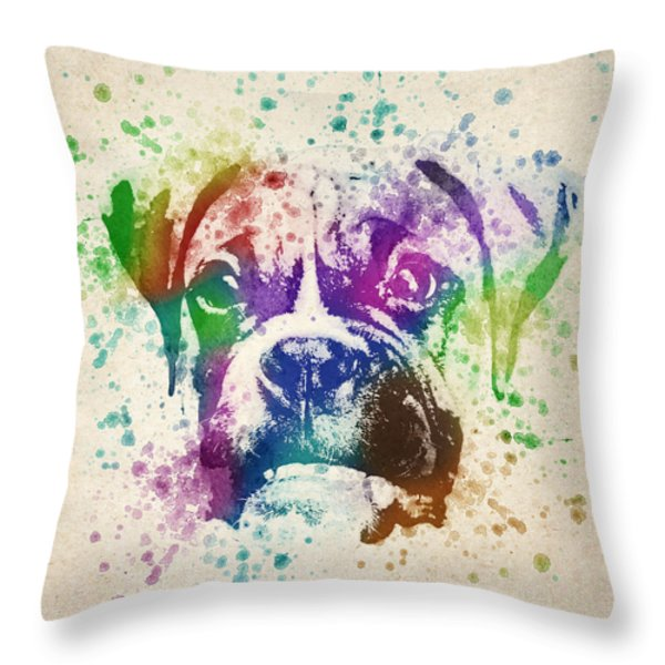 Boxer Splash Throw Pillow by Aged Pixel