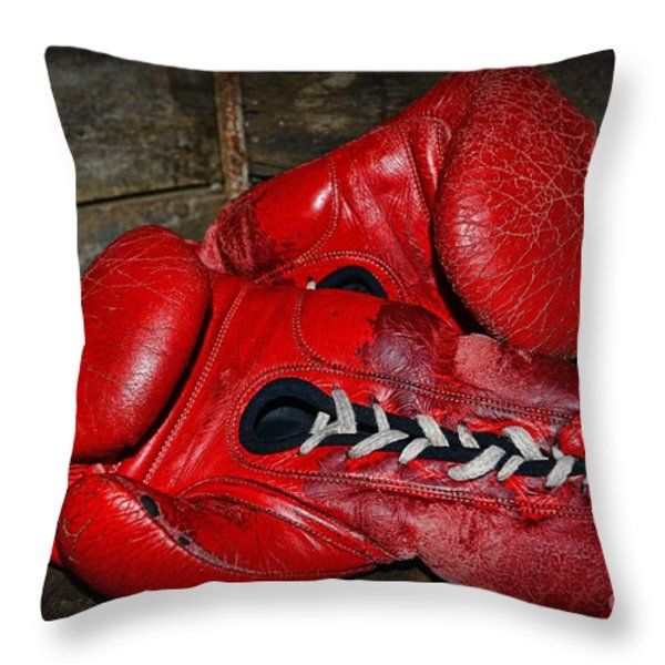 Boxing Gloves Throw Pillow by Paul Ward