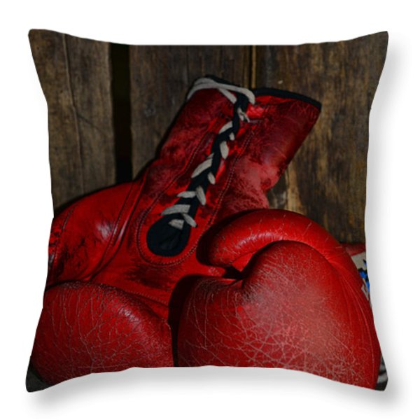 Boxing Gloves Worn Out Throw Pillow by Paul Ward