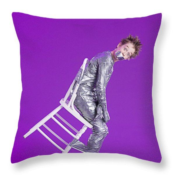 Boy Bound By Duct Tape Throw Pillow by Ron Nickel