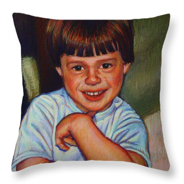 Boy in Blue Shirt Throw Pillow by Kenneth Cobb