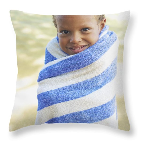 Boy In Towel Throw Pillow by Kicka Witte