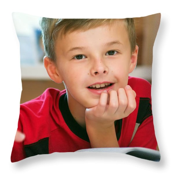 Boy Reading Book Portrait Throw Pillow by Michal Bednarek