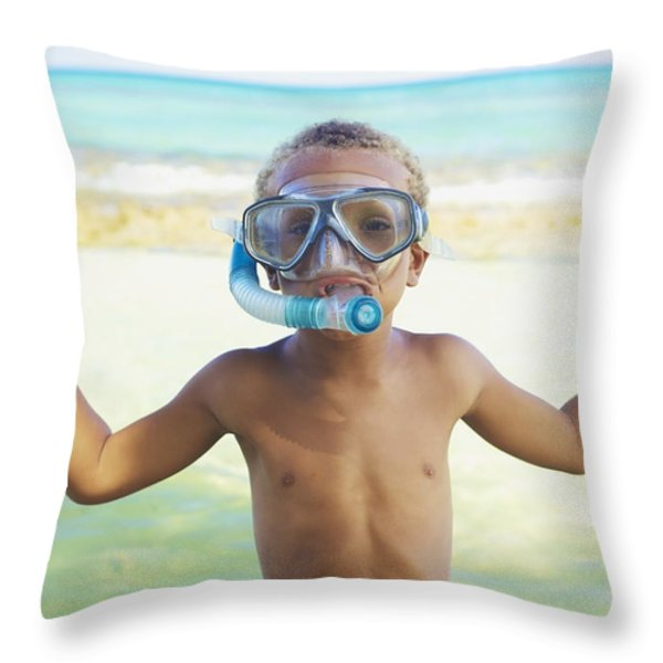 Boy With Snorkel Throw Pillow by Kicka Witte