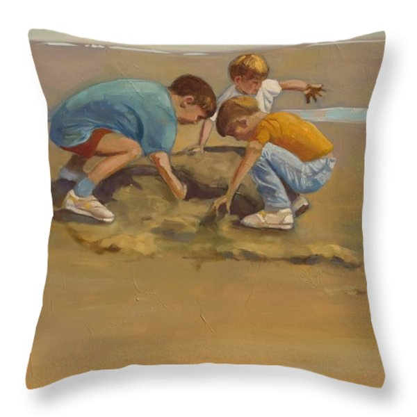 Boys in the Sand Throw Pillow by Sue  Darius