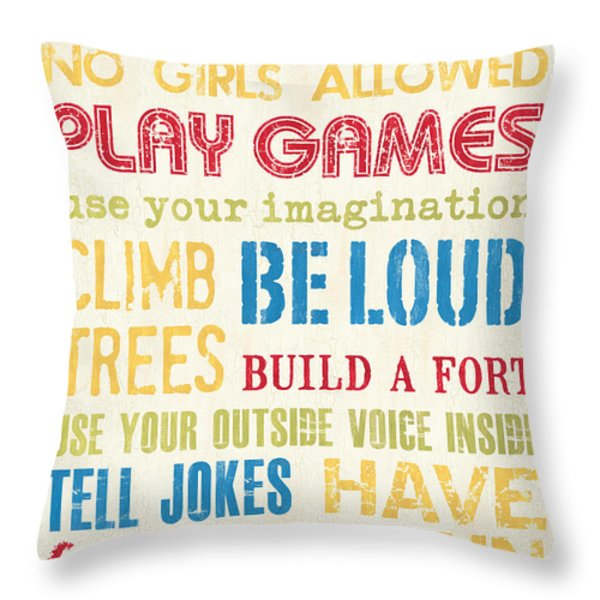 Boys Rules Throw Pillow by Debbie DeWitt