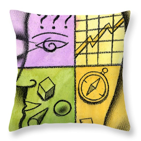 Brainstorming Throw Pillow by Leon Zernitsky