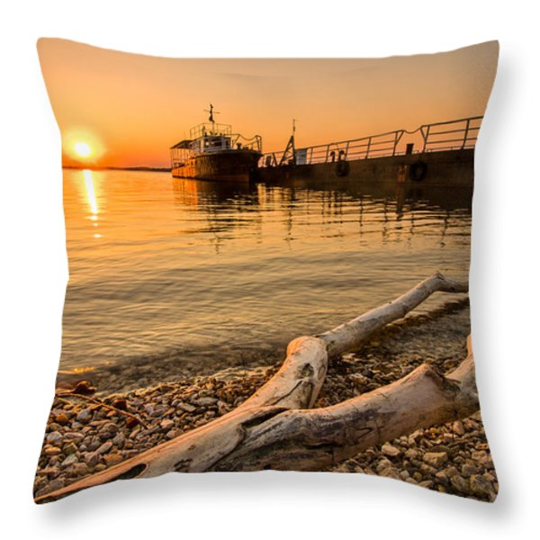 Branch Barge And Sunset Throw Pillow by Davorin Mance