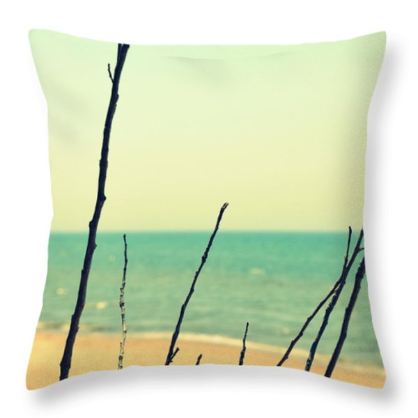 Branches On The Beach Throw Pillow by Michelle Calkins