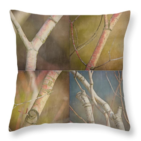 Branches Times Four Throw Pillow by Bonnie Bruno