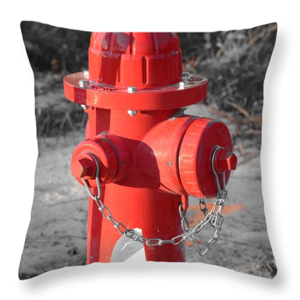 Brand New Red Hydrant on BW Throw Pillow by Jeff at JSJ Photography