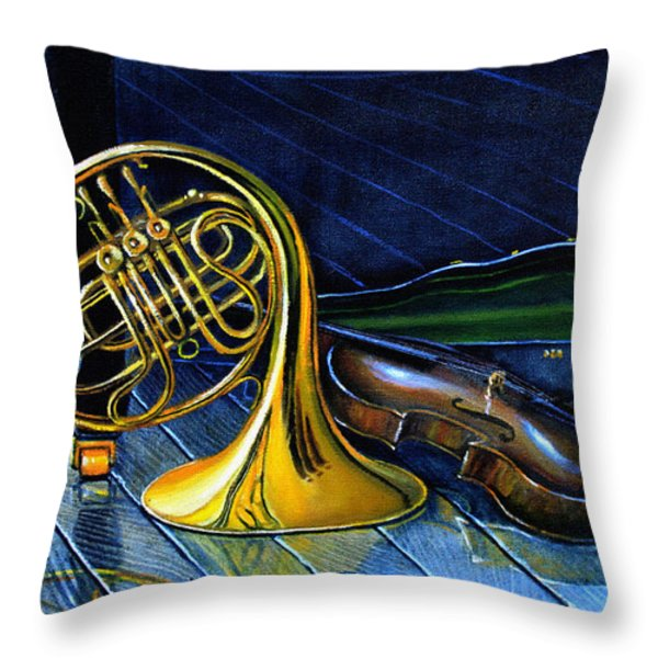 Brass And Strings Throw Pillow by Hanne Lore Koehler