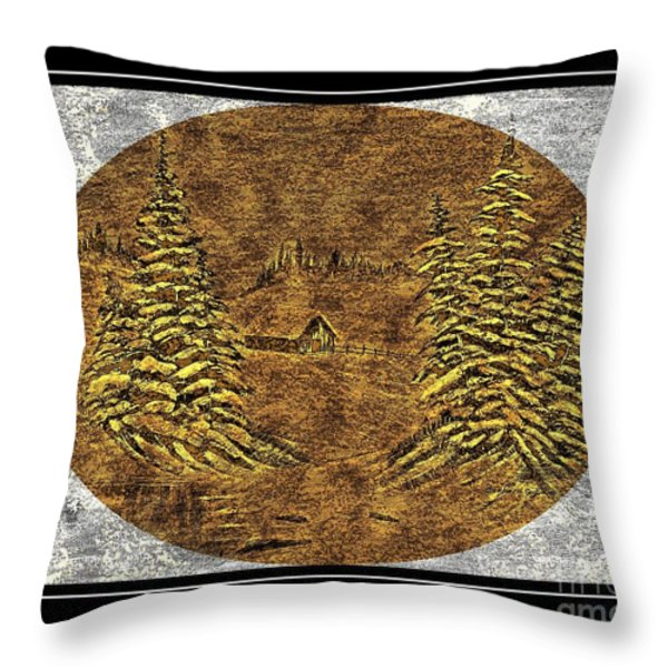 Brass-type Etching - Oval - Cabin Between The Trees Throw Pillow by Barbara Griffin