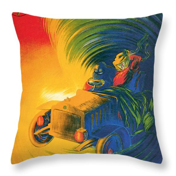 Brassier Automobile - Vintage Poster Throw Pillow by World Art Prints And Designs