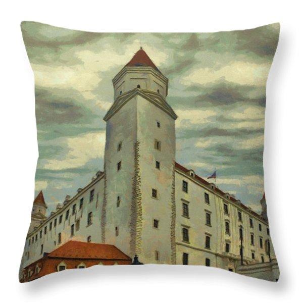 Bratislava Castle Throw Pillow by Jeff Kolker