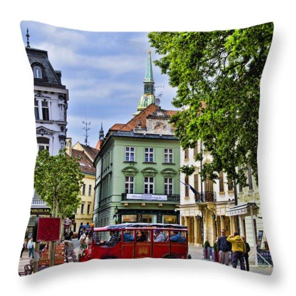 Bratislava Town Square Throw Pillow by Jon Berghoff