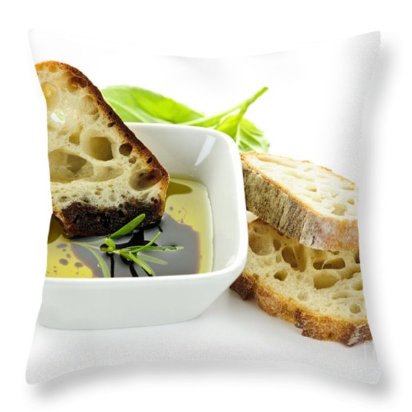 Bread Olive Oil And Vinegar Throw Pillow by Elena Elisseeva