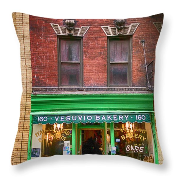 Bread store New York City Throw Pillow by Garry Gay