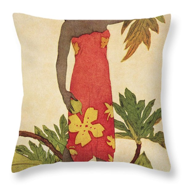 Breadfruit Girl Throw Pillow by Hawaiian Legacy Archives - Printscapes