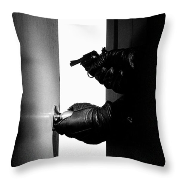 Break-in Throw Pillow by Murray Bloom