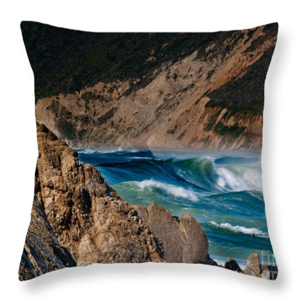 Breakers at Pt Reyes Throw Pillow by Bill Gallagher