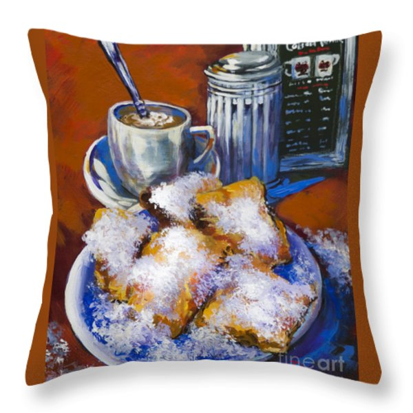 Breakfast At Cafe Du Monde Throw Pillow by Dianne Parks