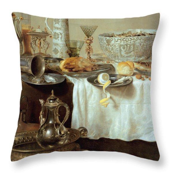 Breakfast Still Life Throw Pillow by Willem Claesz Heda
