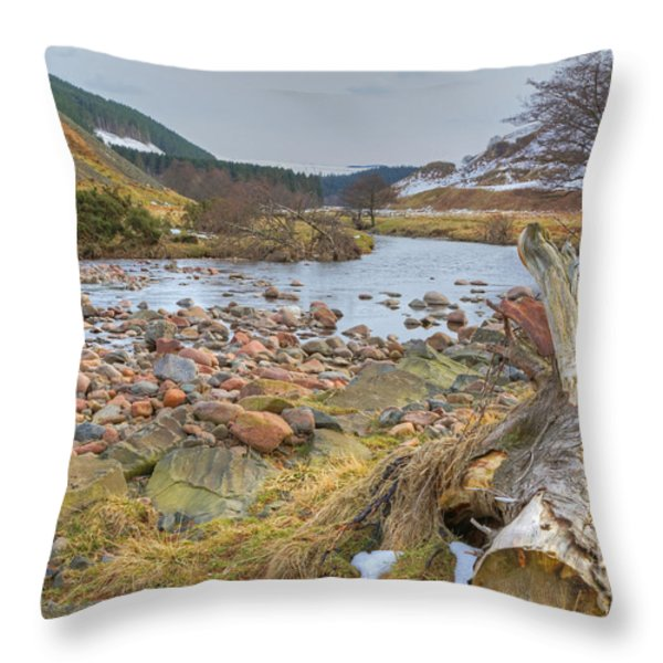 Breamish Valley Landscape Throw Pillow by David Birchall