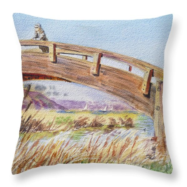 Breezy Day At The Marina Throw Pillow by Irina Sztukowski