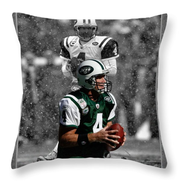 BRETT FAVRE JETS Throw Pillow by Joe Hamilton